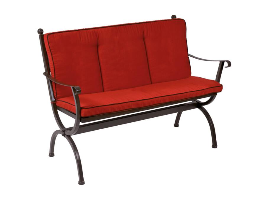 Sitz-Rückenkissen Romeo rot mit schwarzem Keder
