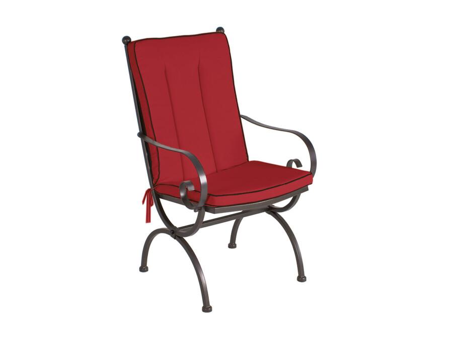 Sitz-/Rückenkissen Romeo Elegance rot mit schwarzem Keder