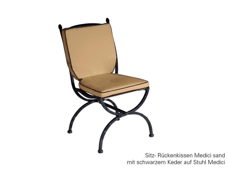 Sitz-Rückenkissen sand mit schwarzem Keder