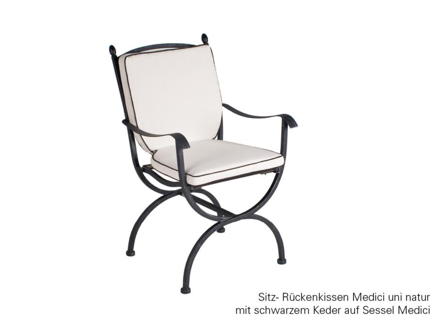 Sitz-/Rückenkissen uni Natur mit schwarzem Keder