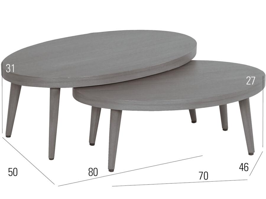 Lounge-Tisch 2er Set grey